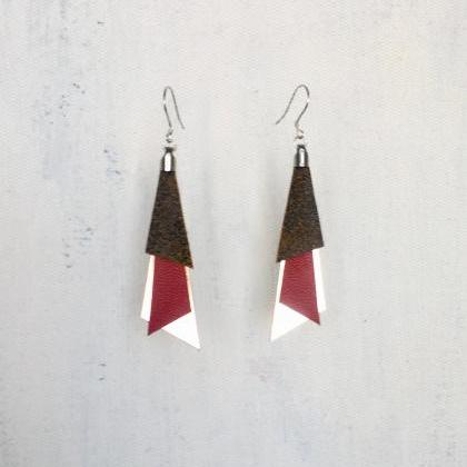 Tri red leather earrings - Pendient..