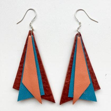 Tri Orange, red, turquoise earrings..