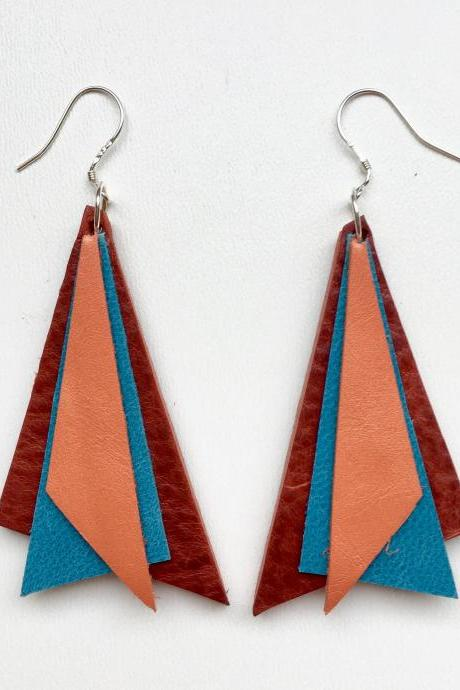 Tri Orange, red, turquoise earrings - Pendientes Tri Naranja, rojo, turquesa